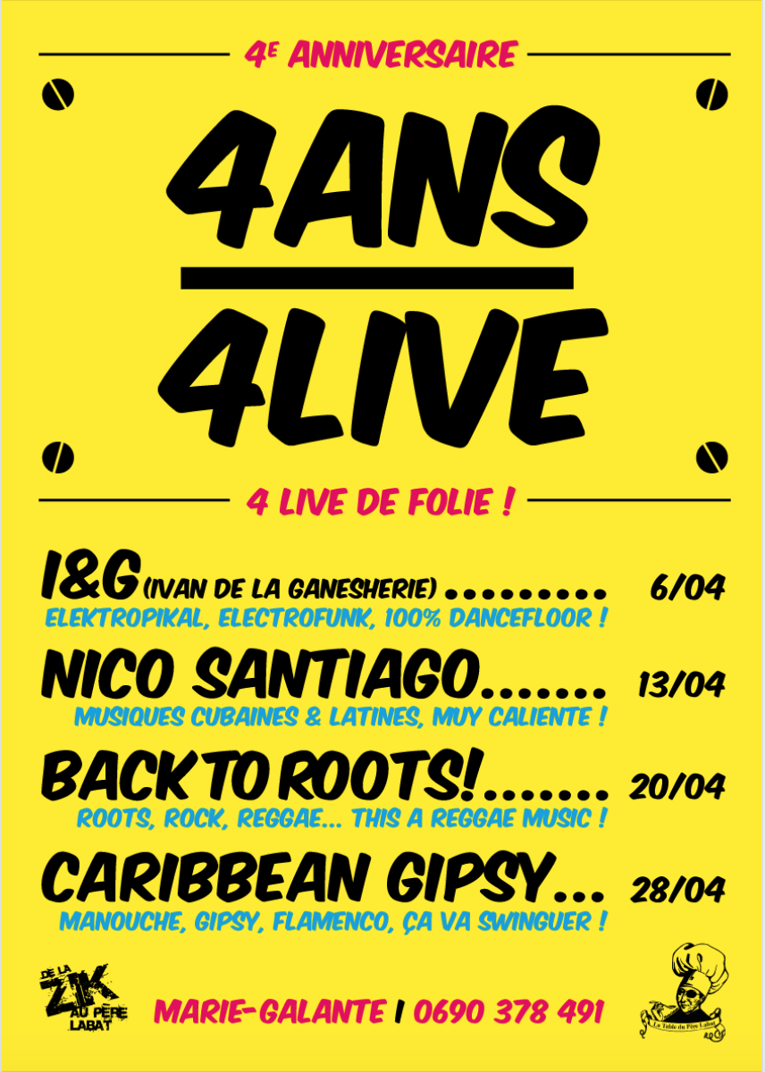 Avril 2019 – 4 live au Père Labat