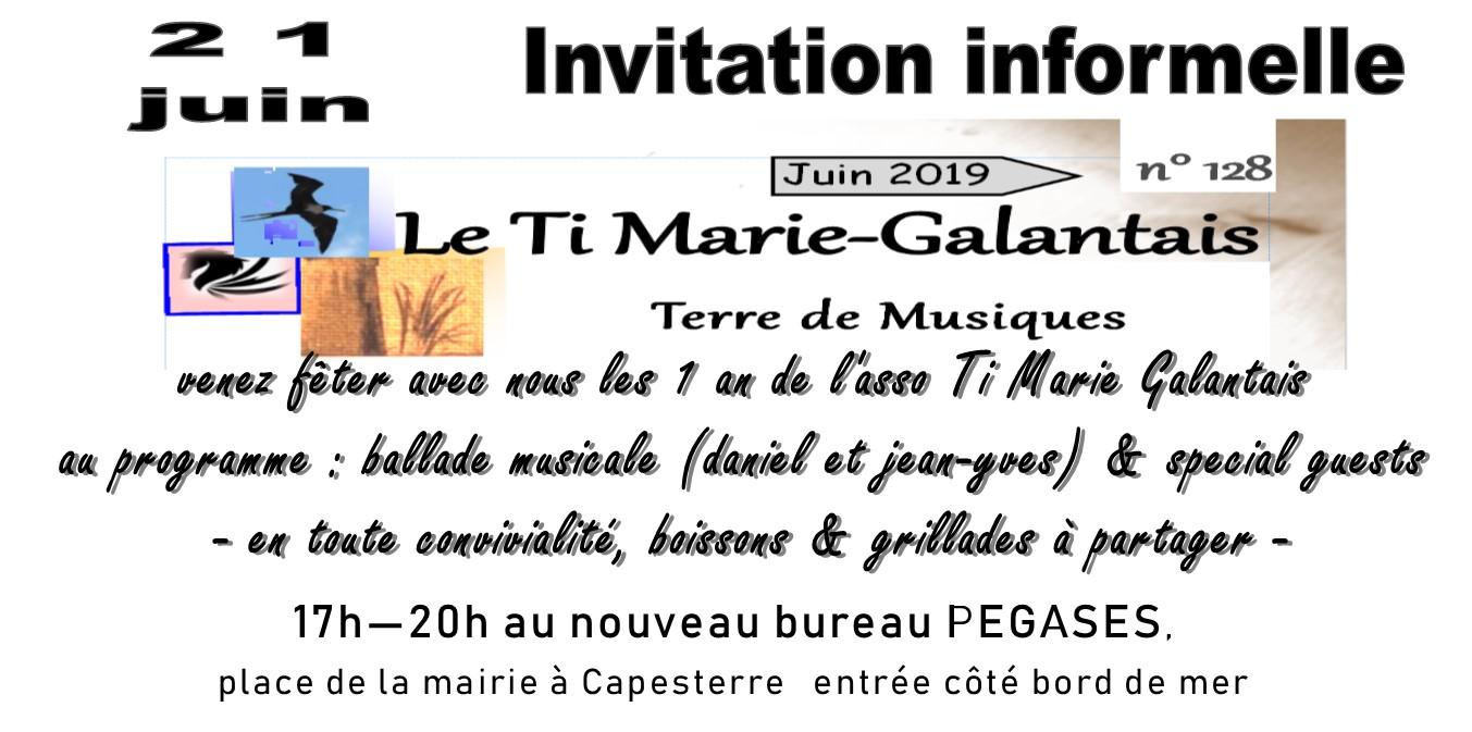 A la Une ! L'asso du Ti Marie Galante vous invite le 21 Juin 2019