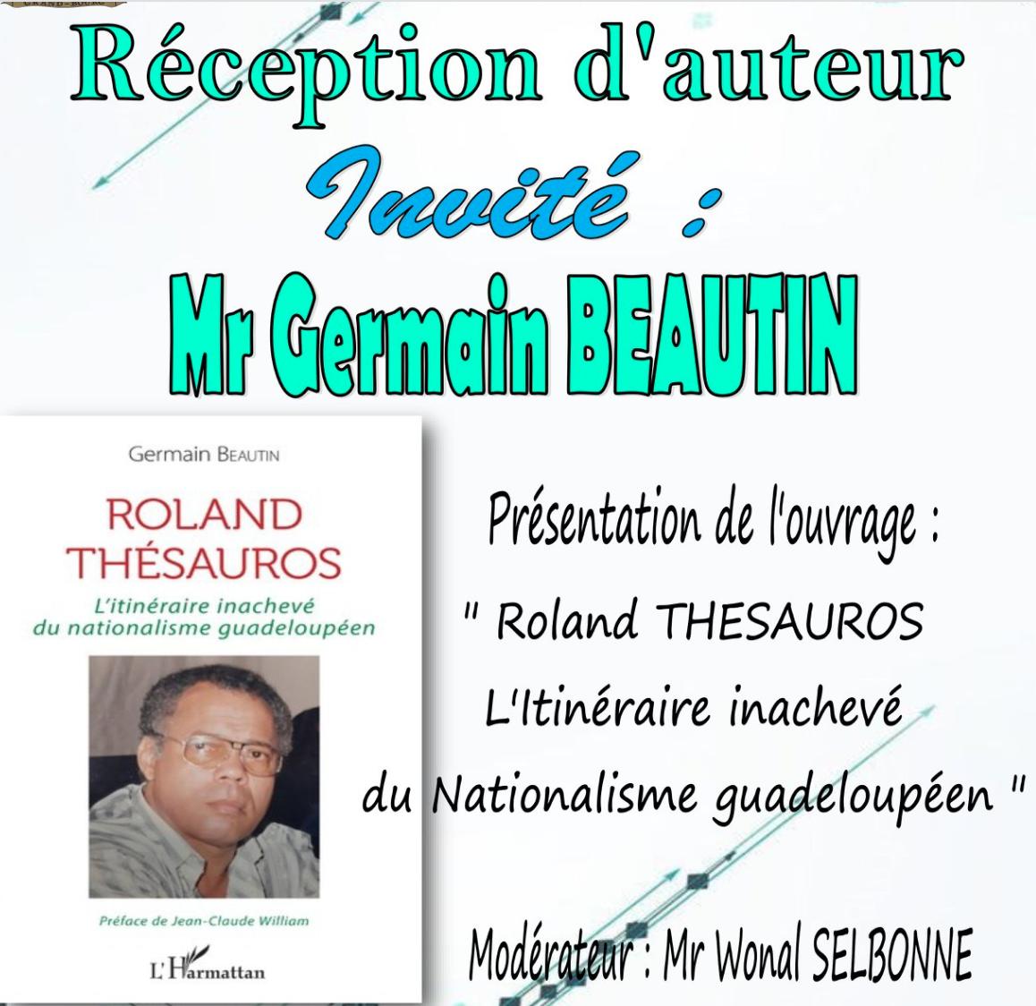 2 novembre – soirée littéraire  avec M Germain Beautin
