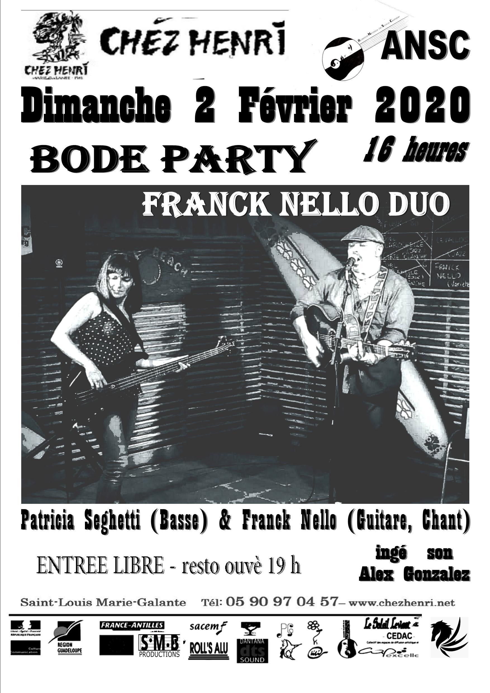 2 Février – Bodé Party Chez Henri avec Franck Nello